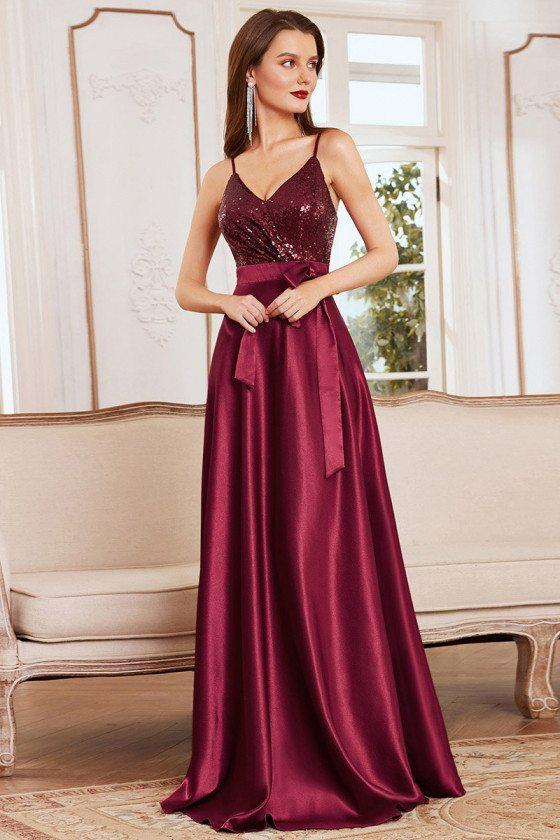 Shiny Burgundy Maxi Satin Evening Dress with Sequin Bodice