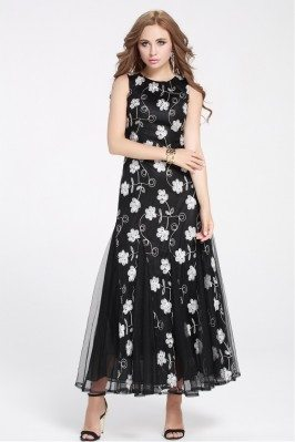 Flower Embroidery Tulle Long Party Dress