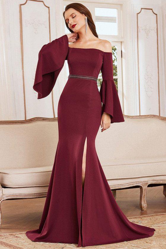 Satin Burgundy Off Shoulder Simple Mermaid Evening Dress