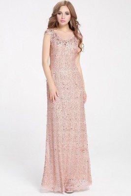 Pink Sequins Long Formal Dress Cap Sleeve