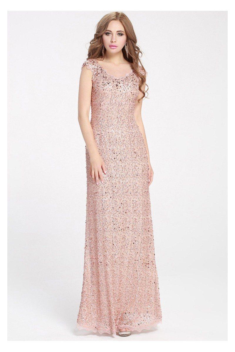 Pink Sequins Long Formal Dress Cap Sleeve - $112 #CK359 - SheProm.com