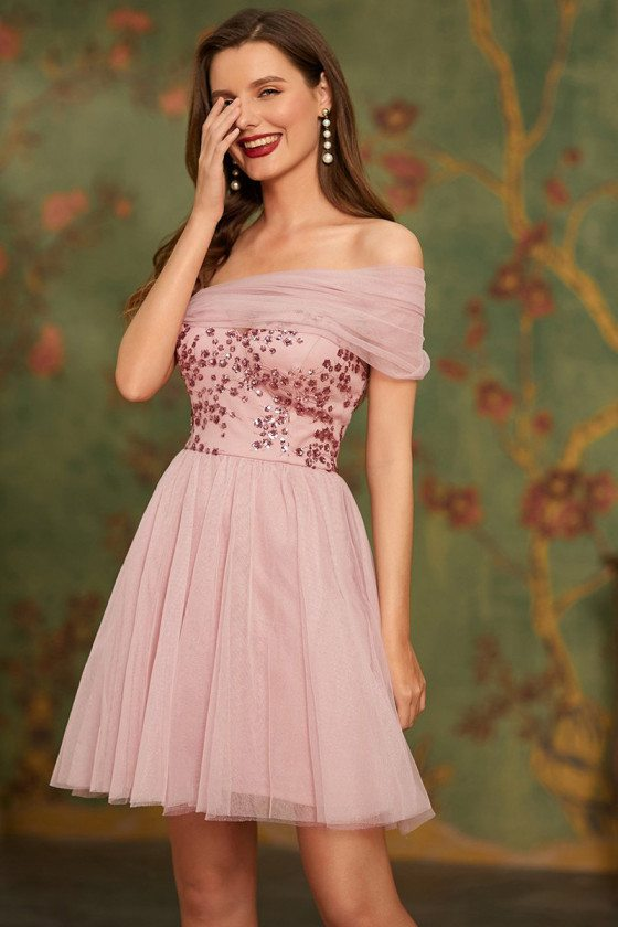 Cute Pink Off Shoulder Short Tulle & Sequin Homecoming Prom Dress