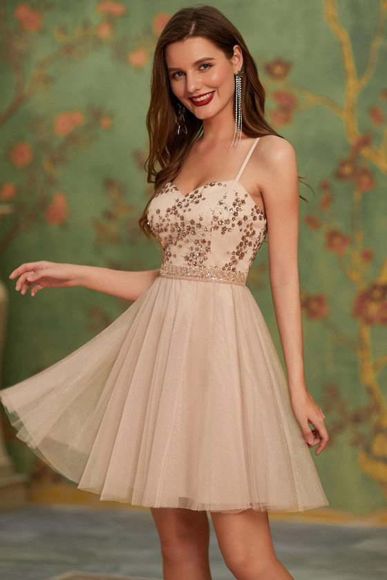 Blush Sweetheart Sequin Short Homecoming Tulle Prom Dress with Straps