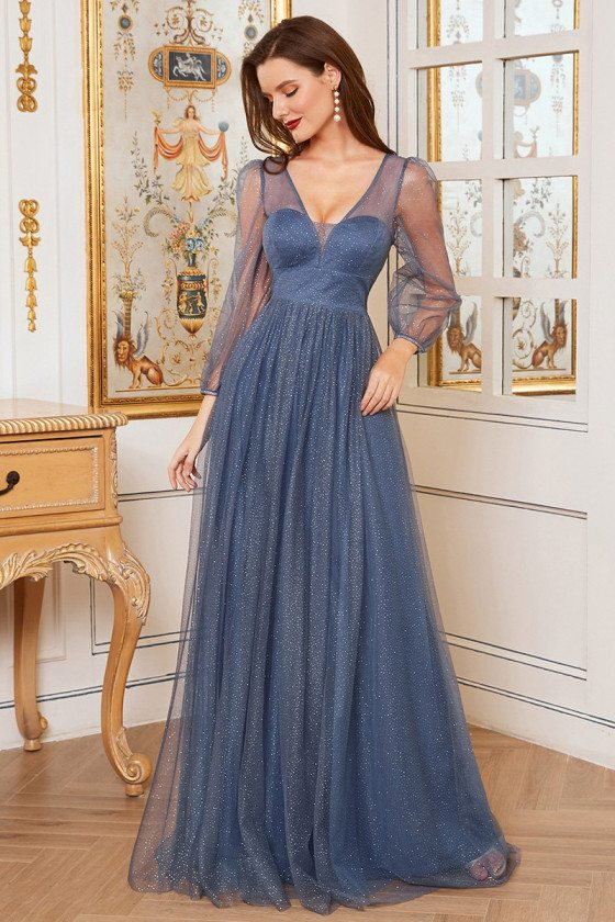 Romantic Dusty Blue Vneck A-Line Tulle Evening Dress with Bling
