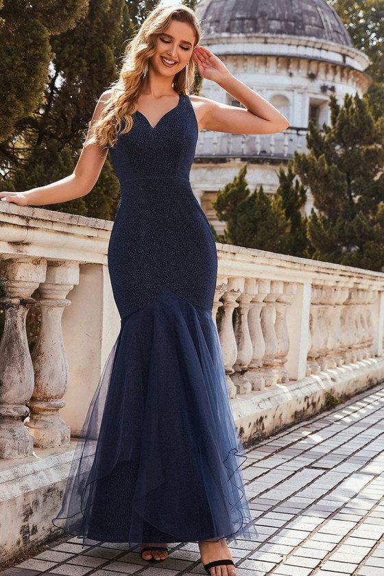 Navy Blue Glitter Fishtail V Neck Cheap Evening Dress with Tulle