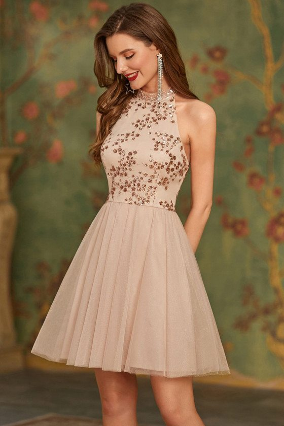 Bling Sequined Bodice Short Tulle Homecoming Prom Dress Halter Neck