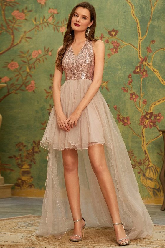 Cute High-Low High Waist Rose Gold Homecoming Prom Dress with Bling