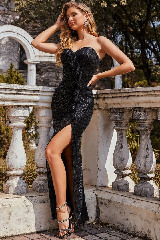 Black Sequins Party Evening Dress with Ruffles