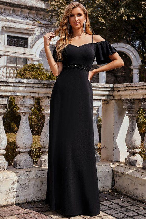Slim Long Black A-Line Chiffon Evening Dress with Cold Shoulder