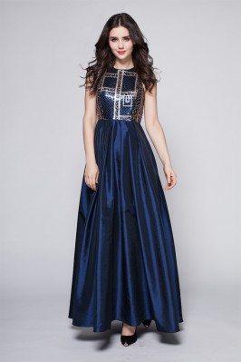 Navy Blue Taffeta Sequins Long Dress