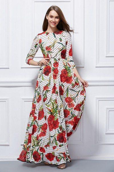Rose Floral Print Long Chiffon Dress