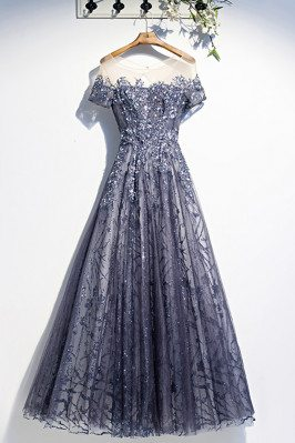 Popular Blue Sequined Tulle...