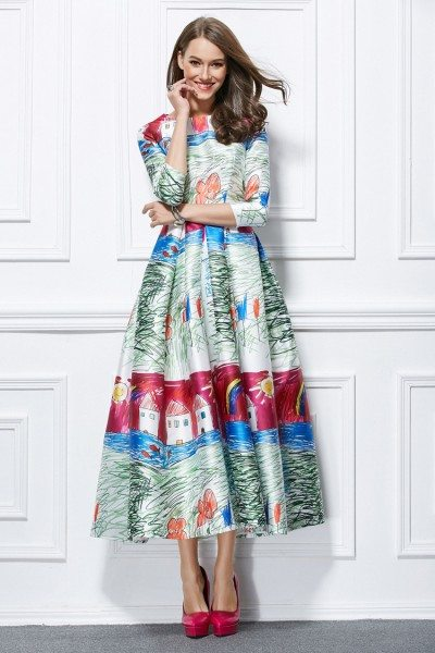 Celebrity Printed A-line Party Dress With Sleeves