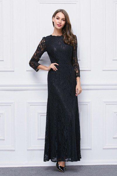 Black High Neck Lace Sleeve Long Formal Dress