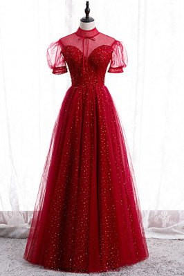 Burgundy Sequined Prom...