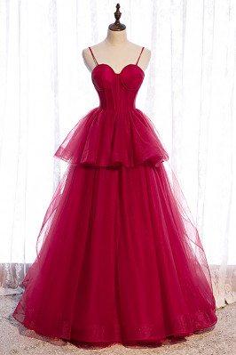 Burgundy Ruffled Tulle Prom...