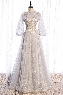 Grey Long Elegant Prom...
