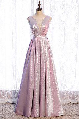 Pink Metallic Pleated Prom...