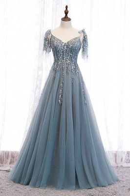 Dusty Blue Sequined Flowy...