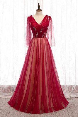 Burgundy Long Tulle Prom...