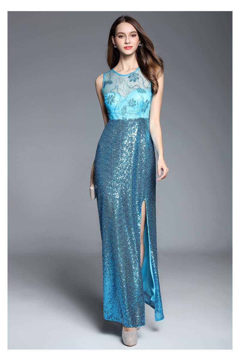 Sequins And Embroidery Long Party Dress - $87 #CK610 - SheProm.com