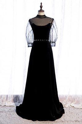 Long Black Evening Dress...