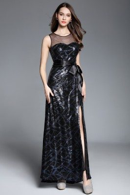 Navy Blue Illusion Neckline Sequins Long Dress