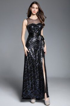 Navy Blue Illusion Neckline Sequins Long Dress