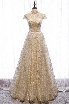 Gold Sequined Pattern Long...