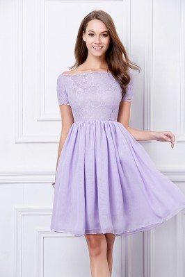 Lace Chiffon Off Shoulder Short Dress