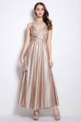 Nude Sequins V-neck Party Dress