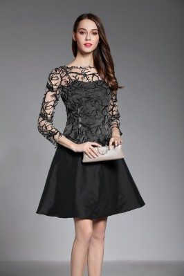 Little Black 3/4 Sleeve Short Dress