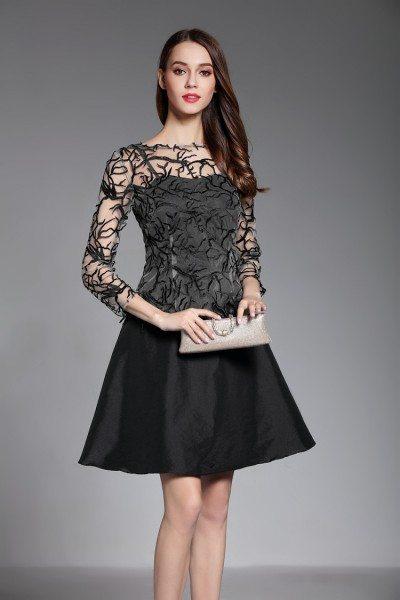 Little Black 3/4 Sleeve Short Dress