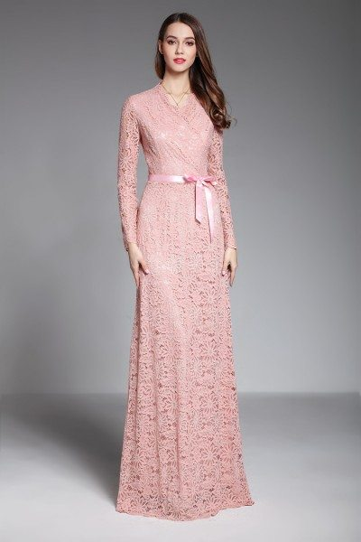 Pink Long Sleeve Lace Formal Evening Dress With Sash