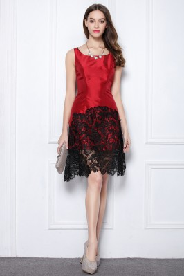 Red And Black Lace Taffeta Short Dress