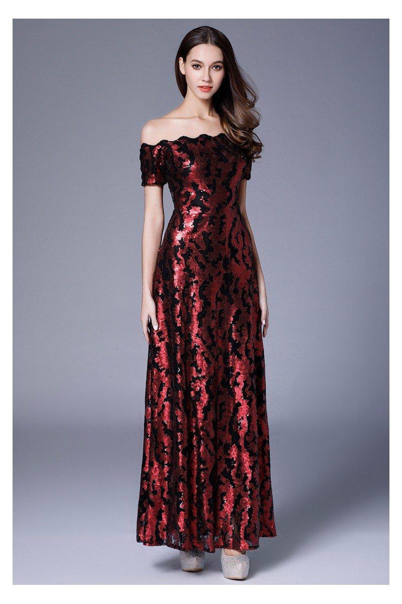Burgundy Sequin Off Shoulder Long Formal Dress - $92 #CK635 ...