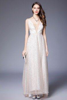 Sequin Tulle V-neck Long White Dress