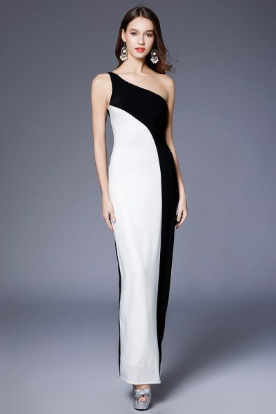 Sheath Black And White One Shoulder Evening Dress