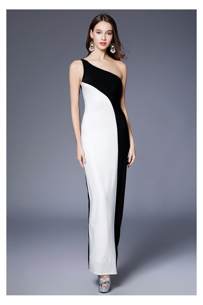 Sheath Black And White One Shoulder Evening Dress - $75 #CK641 ...