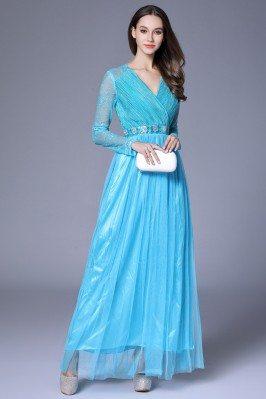 Blue Lace Long Sleeve Chiffon Formal Dress