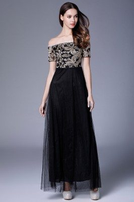 Black Embroidery Tulle Off Shoulder Long Dress