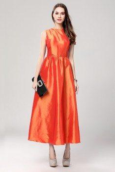 Orange Taffeta Party Dress With Sash