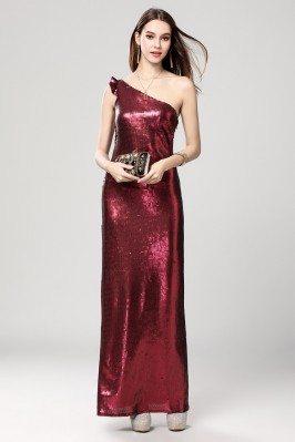 Burgundy Sequins One Shoulder Evening Dress