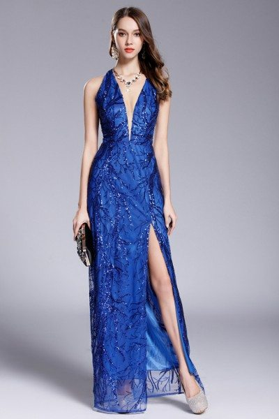 Blue Sequins Deep V-neck Slit Prom Dress