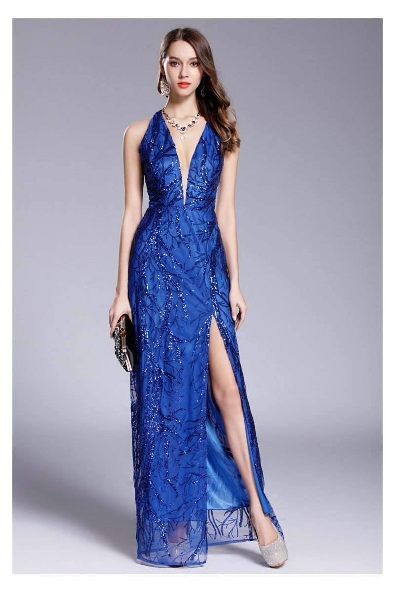 Blue Sequins Deep V-neck Slit Prom Dress - $119 #CK649 - SheProm.com