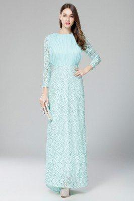 Mint Lace Long Sleeve Formal Dress