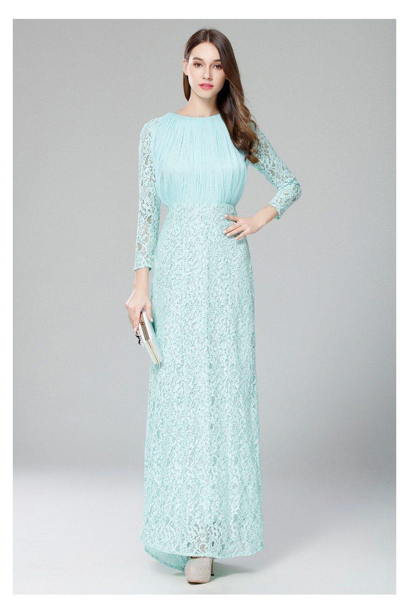 Mint Lace Long Sleeve Formal Dress - $87 #CK5115 - SheProm.com