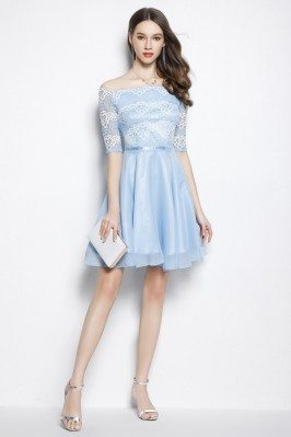 Blue Lace Off Shoulder Short Party Dress