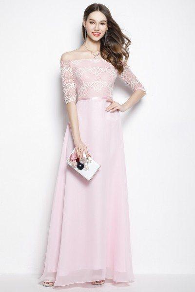 Pink Chiffon Lace Off Shoulder Long Prom Dress - $78 #CK2024 ...