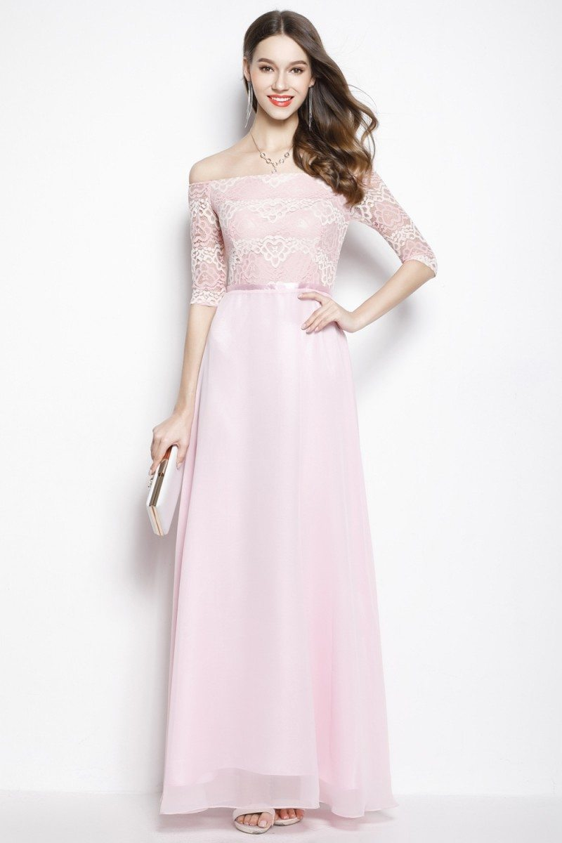 Pink Chiffon Lace Off Shoulder Long Prom Dress 78 Ck2024